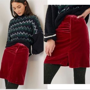 Anthropologie Montie Velvet Mini Skirt
